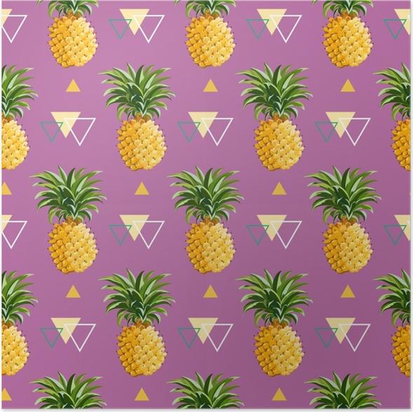 Plakat samoprzylepny Geometryczne ananasowe tło - Pineapple Fever