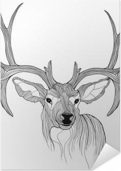 Plakat samoprzylepny Głowa jelenia