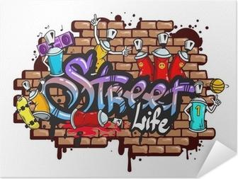 Plakat samoprzylepny Graffiti znaki słowne skład