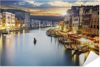 Plakat samoprzylepny Grand Canal w nocy, Wenecja