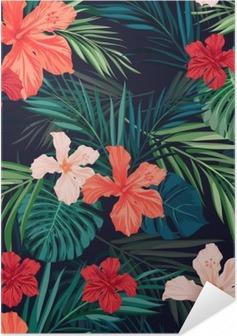Plakat samoprzylepny Jasne kolorowe tropikalnych szwu tła z liśćmi i