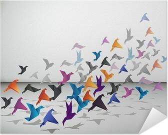 Plakat samoprzylepny Kryty lotu, ptaki origami zacząć latać w zamkniętej przestrzeni.