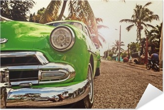 Plakat samoprzylepny Kuba Vintage samochód w Hawanie