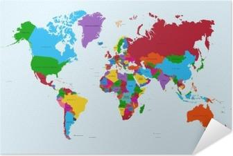 Plakat samoprzylepny Mapa świata, atlas krajów kolorowe eps10 plik wektorowy.