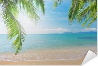 Plakat samoprzylepny Palmy i tropikalna plaża
