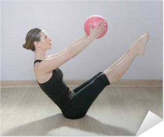 Plakat samoprzylepny Pilates stabilności kobiety joga siłownia piłka gimnastyczna