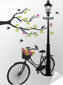 Plakat samoprzylepny Rower z lampy, kwiaty i drzewa, wektor