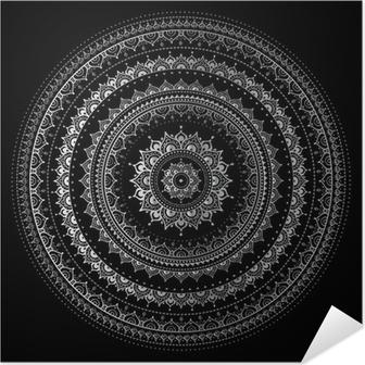 Plakat samoprzylepny Srebrny mandala