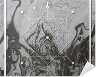 Plakat samoprzylepny Streszczenie mistyczne geometrii, liniowy alchemii, okultyzmu, filozoficzne znak.