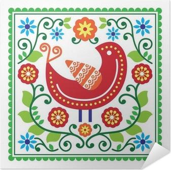 Plakat samoprzylepny Sztuka ludowa deseń z ptaków i kwiatów