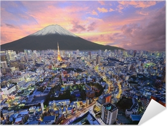 Plakat samoprzylepny Tokyo i Fuji