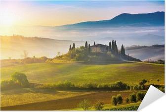 Plakat Samoprzylepny Toskania o wschodzie słońca