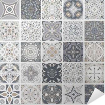 Tradycyjne Ozdobne Portugalski Dekoracyjne Płytki Azulejos Streszczenie Tle Ilustracji Wektorowych Ręcznie Rysowane Typowy Portugalski Płytek