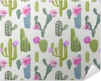 Plakat samoprzylepny Wektor kaktus tło. Seamless Pattern. Egzotyczne rośliny. Zwrotnik