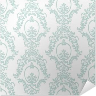Plakat samoprzylepny Wektor wzór adamaszku ornament w stylu imperialnym. ozdobny kwiatowy element na tkaniny, tekstylia, projektowanie, zaproszenia ślubne, karty z pozdrowieniami, tapety. opalowy kolor niebieski