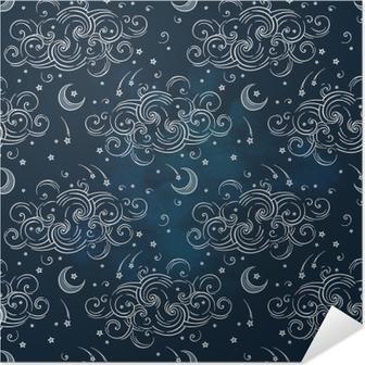 Plakat samoprzylepny Wektor wzór z ciał niebieskich - księżyce, gwiazdy i chmury. boho chic print hand drawn textile design