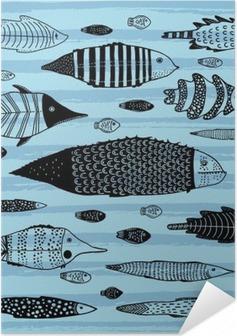 Plakat samoprzylepny Zestaw zabawnych ryb