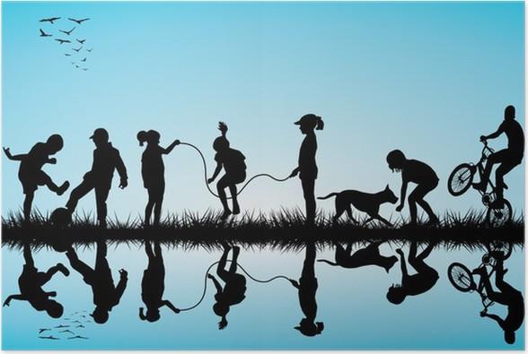 Plakát Skupina dětí siluety hrát - Zábava