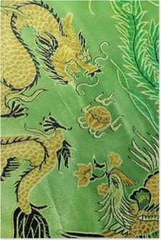 Plakat Smok i feniks, chiński haft jedwab
