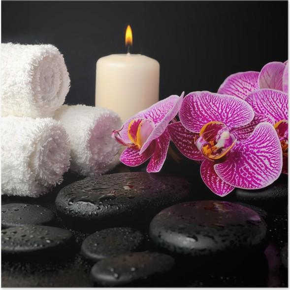 Plakát Spa sada zen kameny s kapkami, kvetoucí větvičku ze zbavil viol - Životní styl, péče o tělo a krása