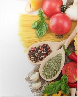 Plakat Spaghetti makarony, warzywa i przyprawy, na białym tle
