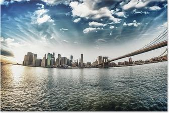 Plakat Spektakularny widok na Brooklyn Bridge z Brooklyn brzegu na winte