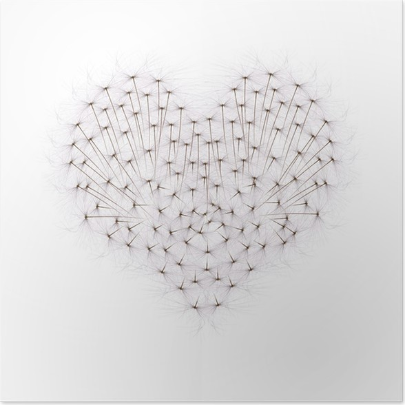Plakát Srdce z pampelišky semen - Značky a symboly
