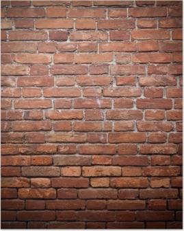 Plakat Stary grunge tekstury ściany z czerwonej cegły