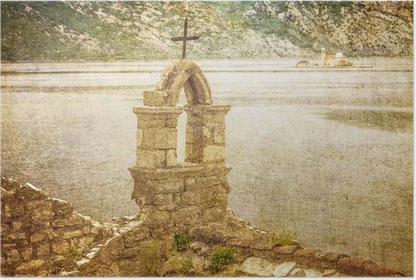 Plakát Starý kostel s výhledem na moře ve špatném počasí - Evropa