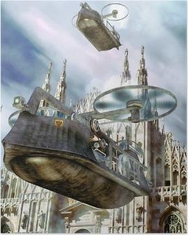 Plakat Steampunk łódź statek latający