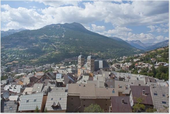 Plakát Střechy pevnosti Briancon (Francie), Alpy v pozadí - Evropa