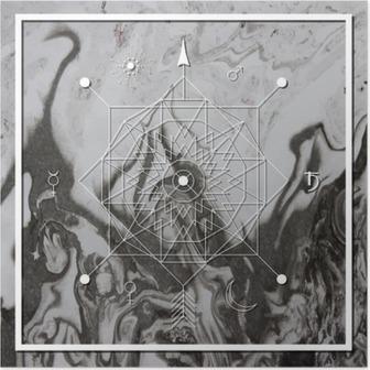Plakat Streszczenie mistyczne geometrii, liniowy alchemii, okultyzmu, filozoficzne znak.
