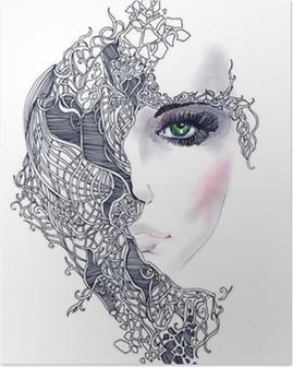 Plakat Streszczenie twarz kobiety