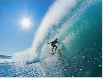 Plakat Surfer na fali Błękitny ocean