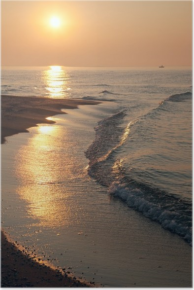 Plakát Svítání moře a sluneční světlo cesta - Prázdniny