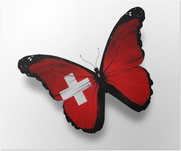 Plakát Švýcarská vlajka motýl, izolovaných na bílém - Národní svátky