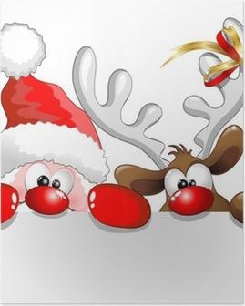 Plakat Święty Mikołaj i renifery, Santa Claus i reniferów tła