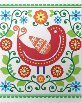 Plakat Sztuka ludowa deseń z ptaków i kwiatów