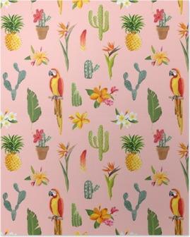 Plakát Toucan Parrot. Tropické květiny na pozadí. Retro bezešvé vzor