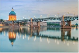 Plakat Toulouse - Szpital La Grave i Pont Saint-Pierre