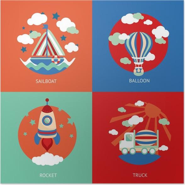 Plakát Transport hračka ploché set - Na cestě