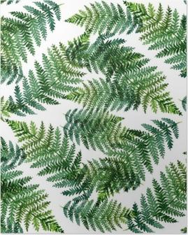 Plakat Tropikalny akwarela abstrakcyjny wzór z liści paproci