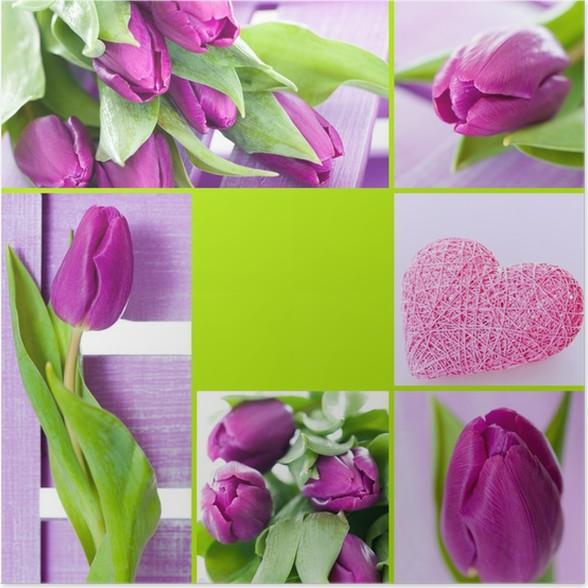 Plakát Tulipány koláž - Roční období