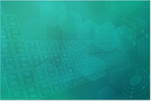 Plakát Türkiser futuristischer pozadí mit Periodensystem - Aplikované a přírodní vědy