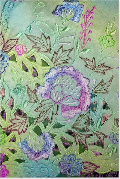Plakát Turquoise Kebaya Cloth se složitými výšivkami květin - Struktury