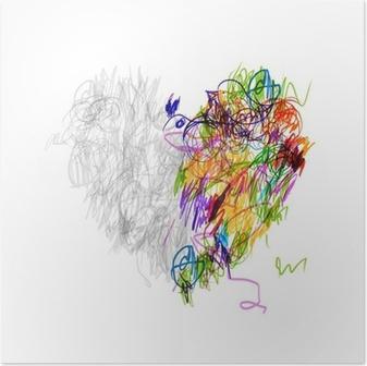 Plakat Srdce Tvar Stromu Kresba Tuzkou Pro Svuj Design Pixers