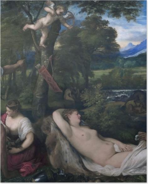 Plakat Tycjan - Jowisz i Antiopa - Reprodukcje