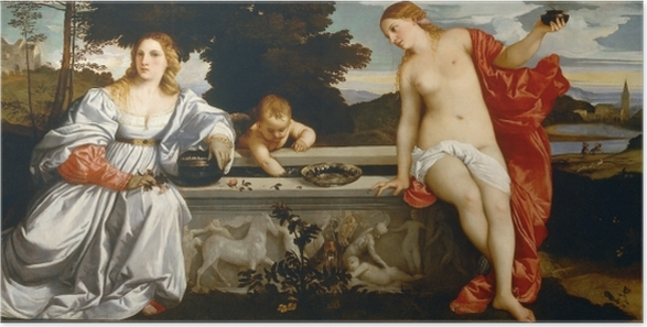 Plakat Tycjan - Miłość niebiańska i miłość ziemska - Reprodukcje
