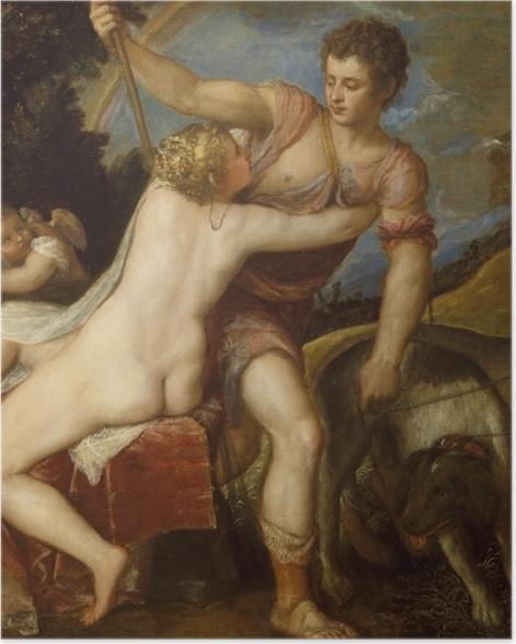 Plakat Tycjan - Wenus i Adonis - Reprodukcje