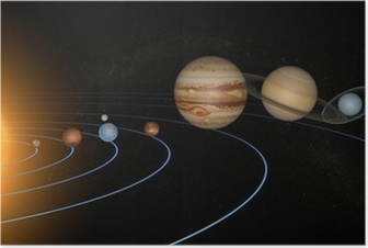 Plakat Układ Słoneczny planety przestrzeni wszechświata słońce